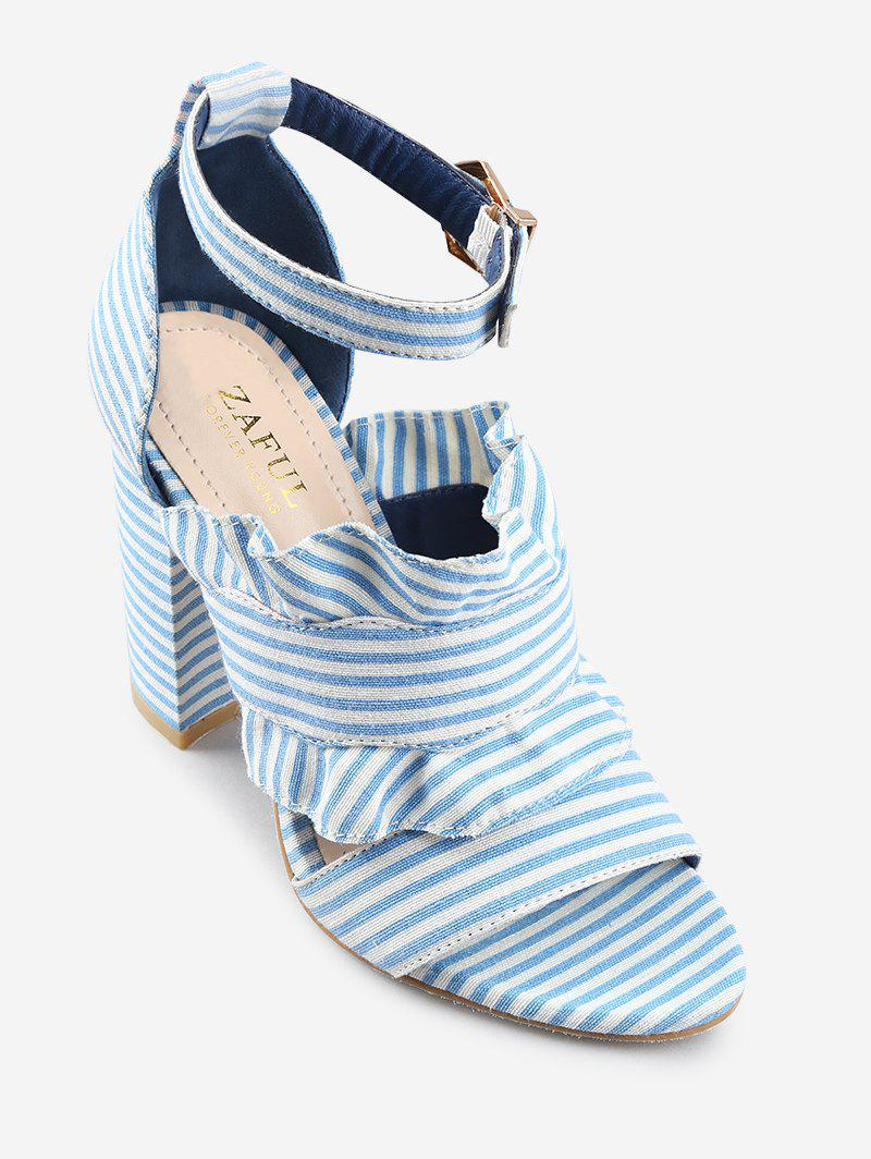 Shops Striped Ruffless High Heel Ankle Strap Sandals