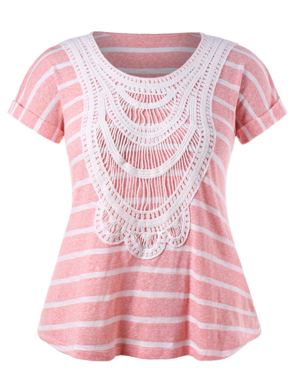 Store Plus Size Ethnic Crochet Striped T-shirt