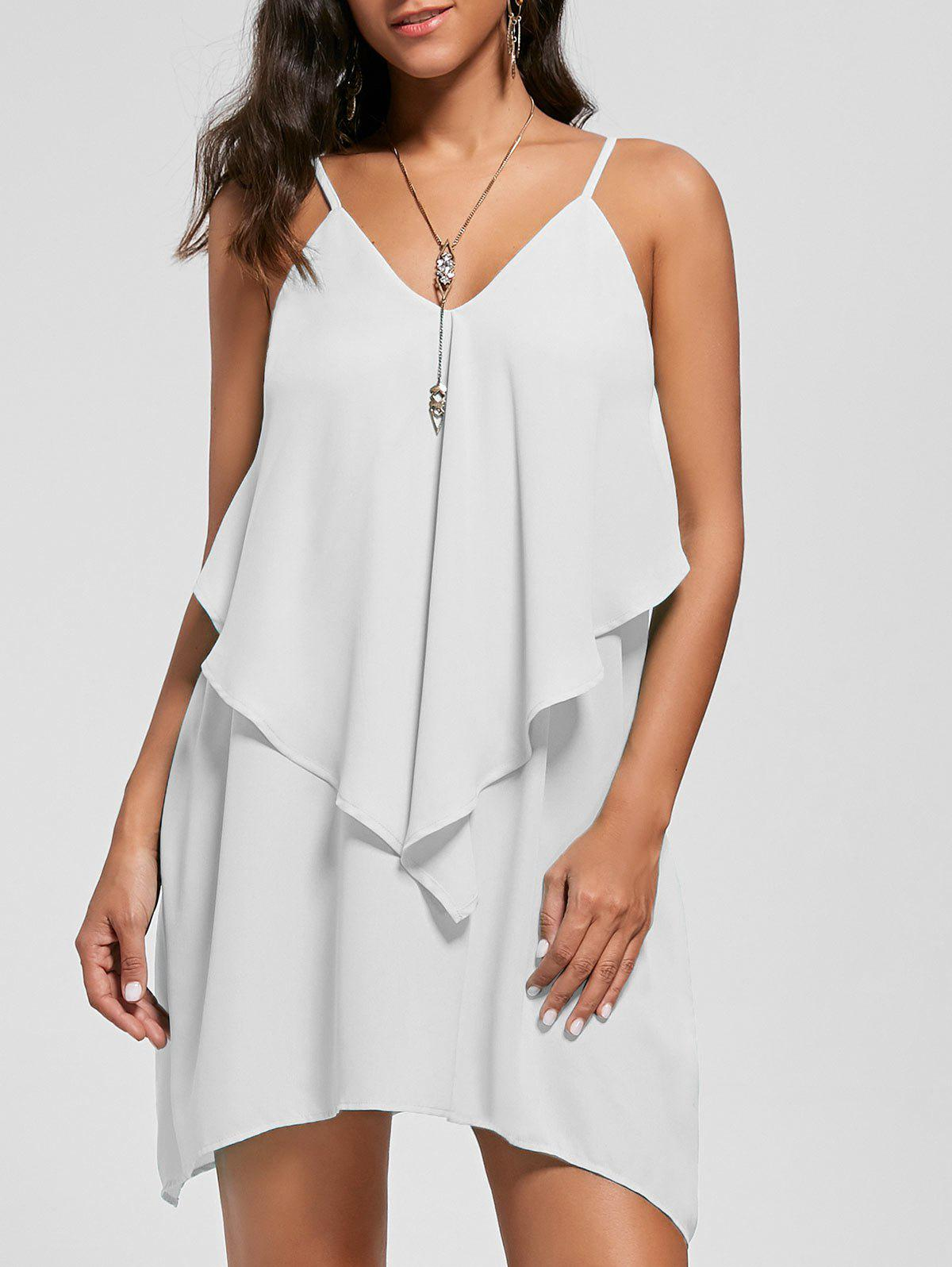 Chic Overlay Crescent Hem Slip Dress