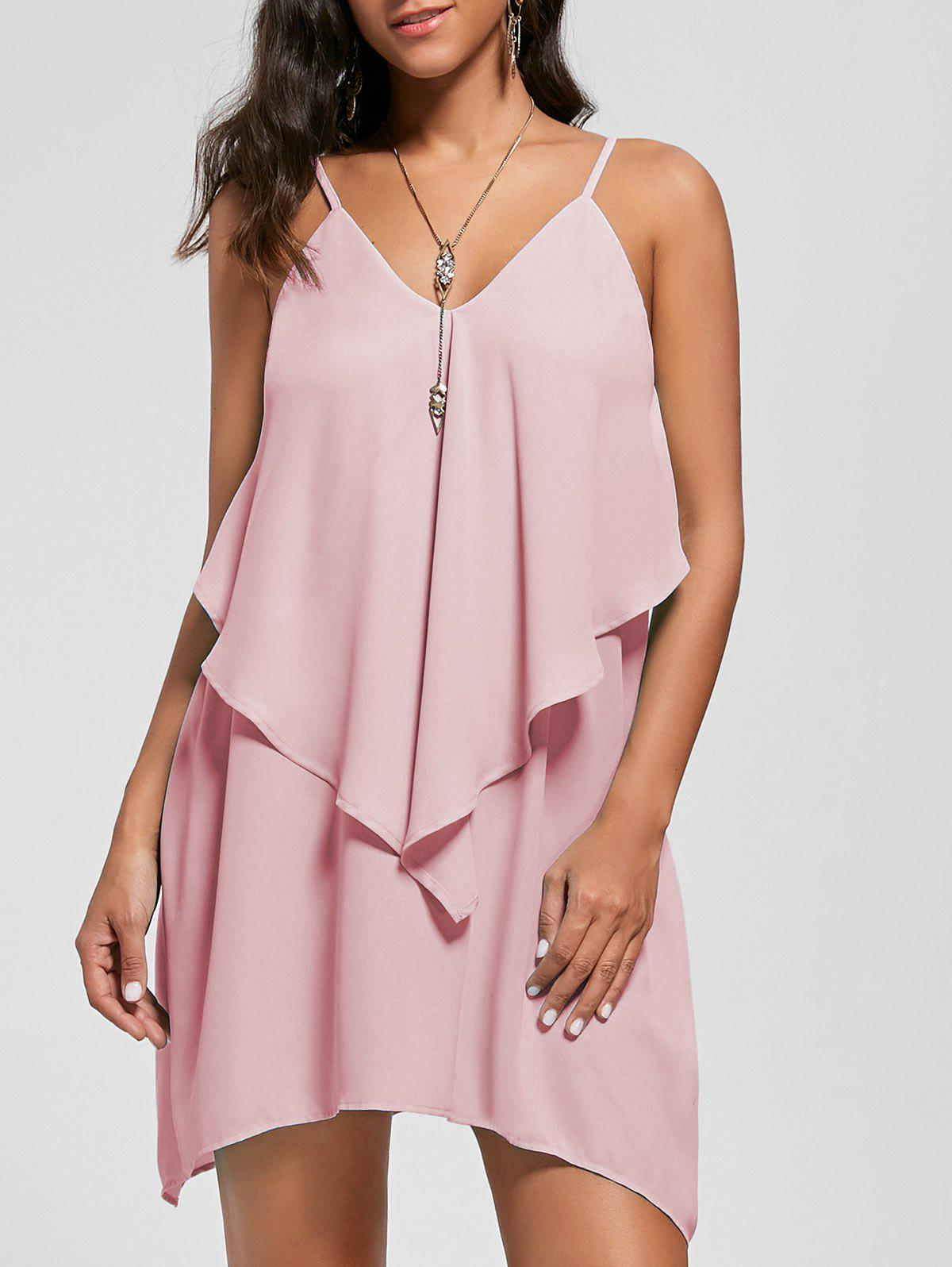 Online Overlay Crescent Hem Slip Dress