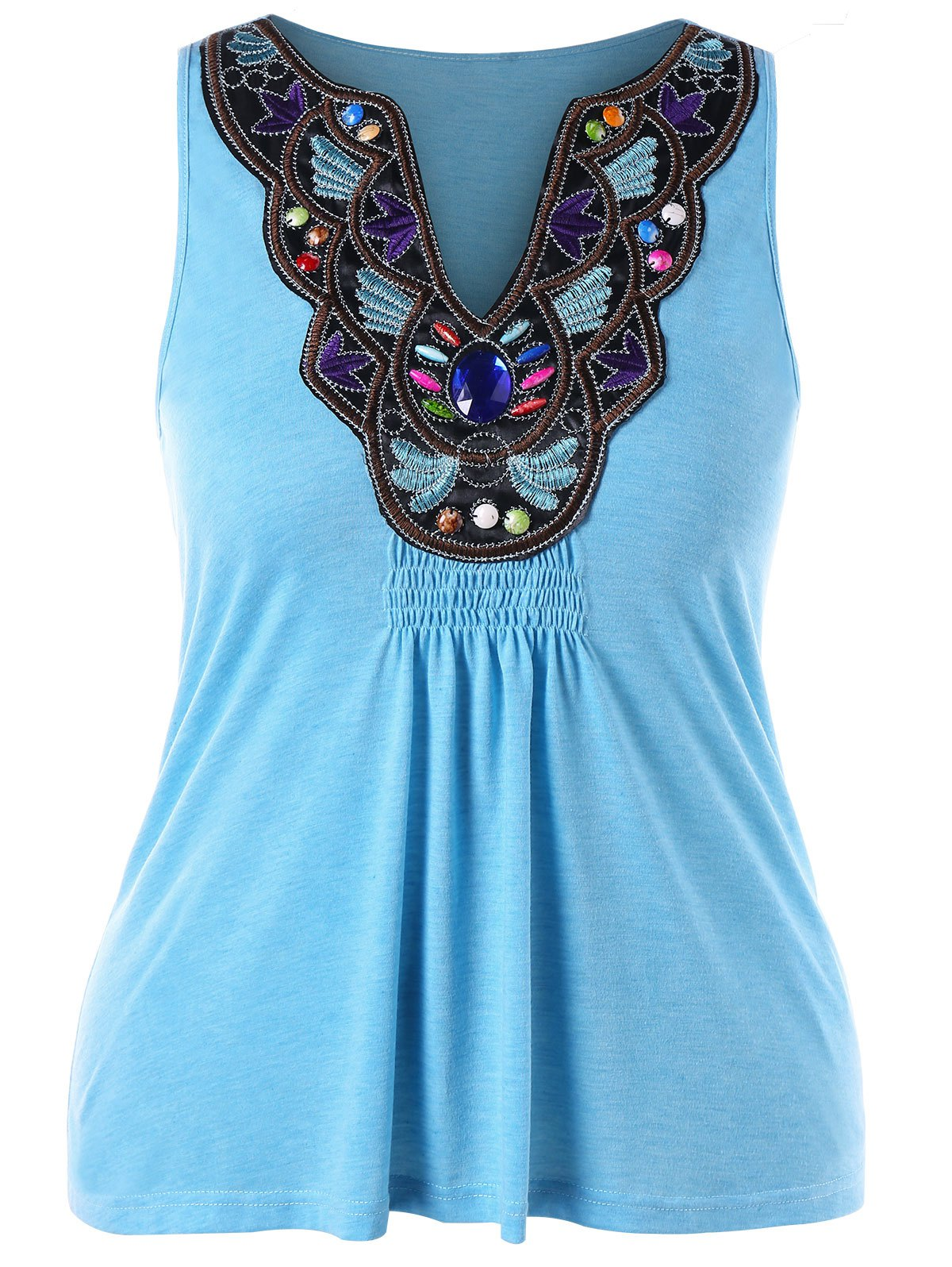 Buy Plus Size Ethnic Embroidery Tank Top