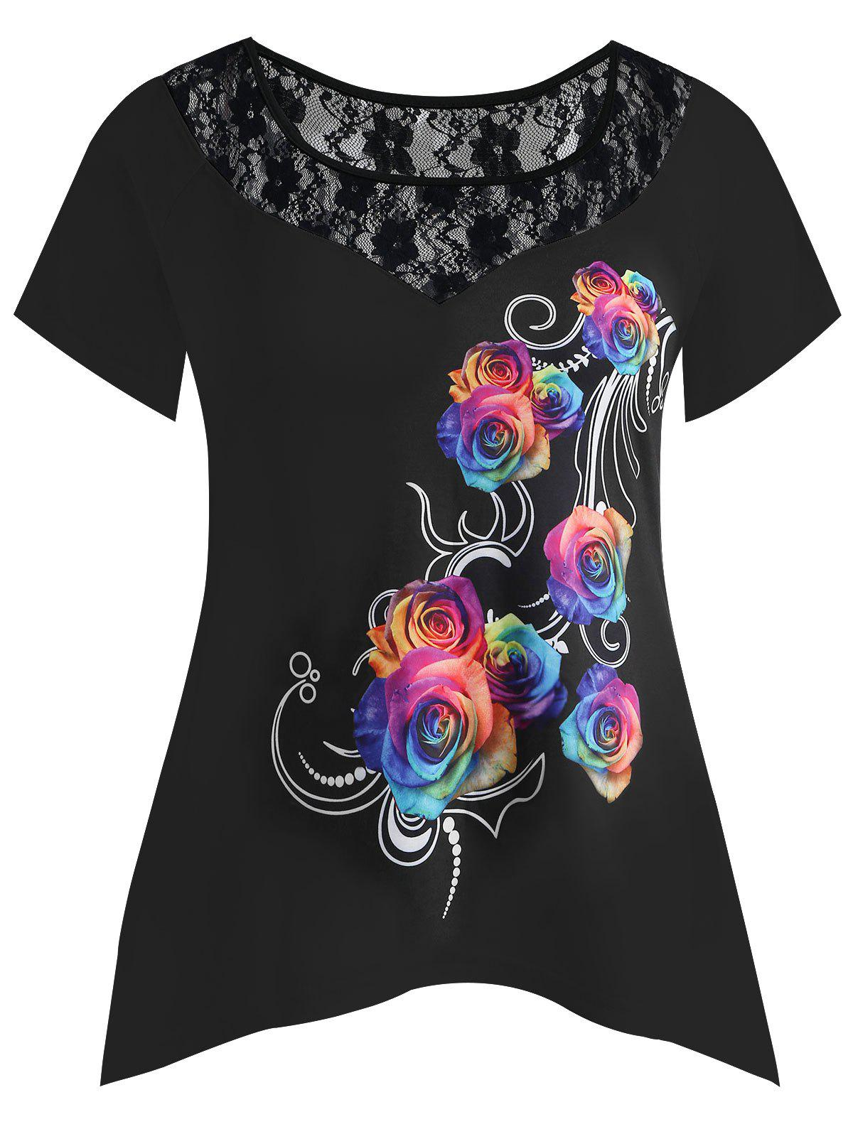 Discount Plus Size Lace Insert Rose T-shirt