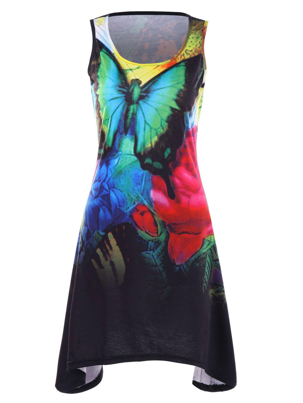 Buy Sleeveless Flower and Butterfly Print Dress