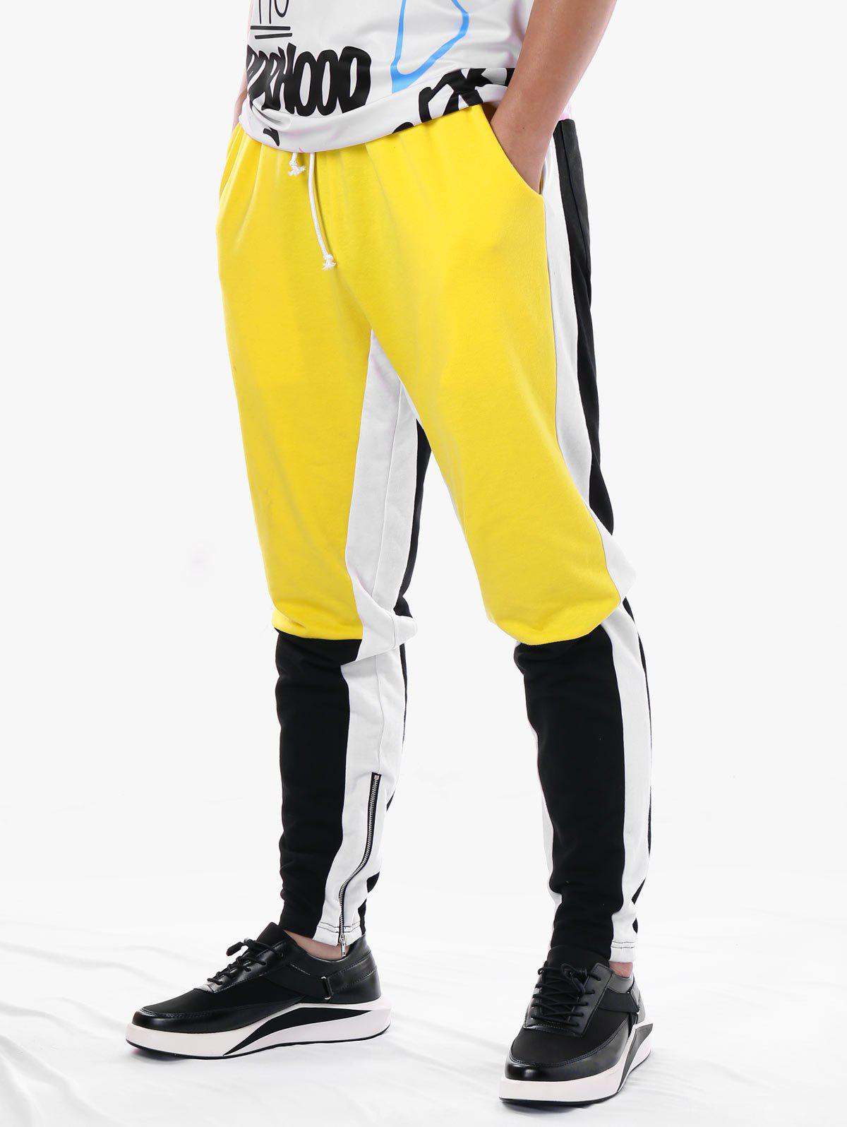 Hot Drawstring Side Zip Hem Color Block Jogger Pants