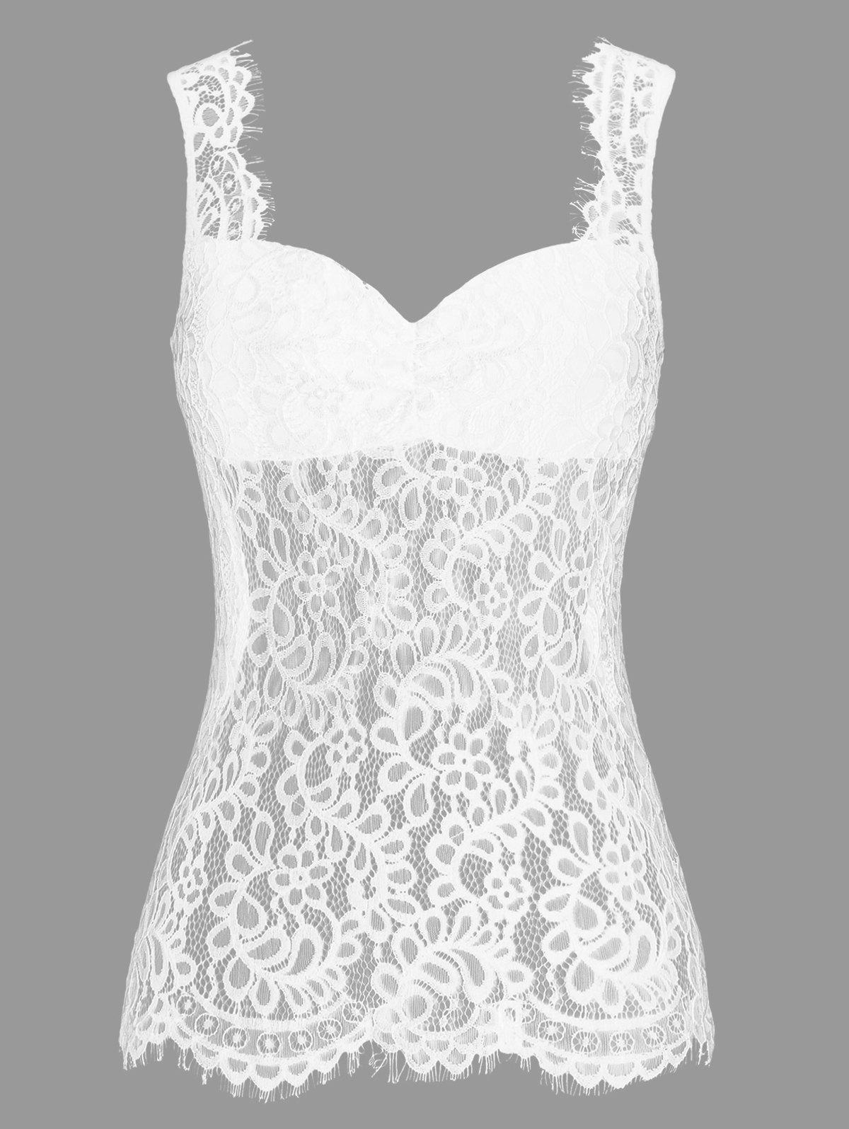Fashion See Thru Openwork Lace Panel Tank Top