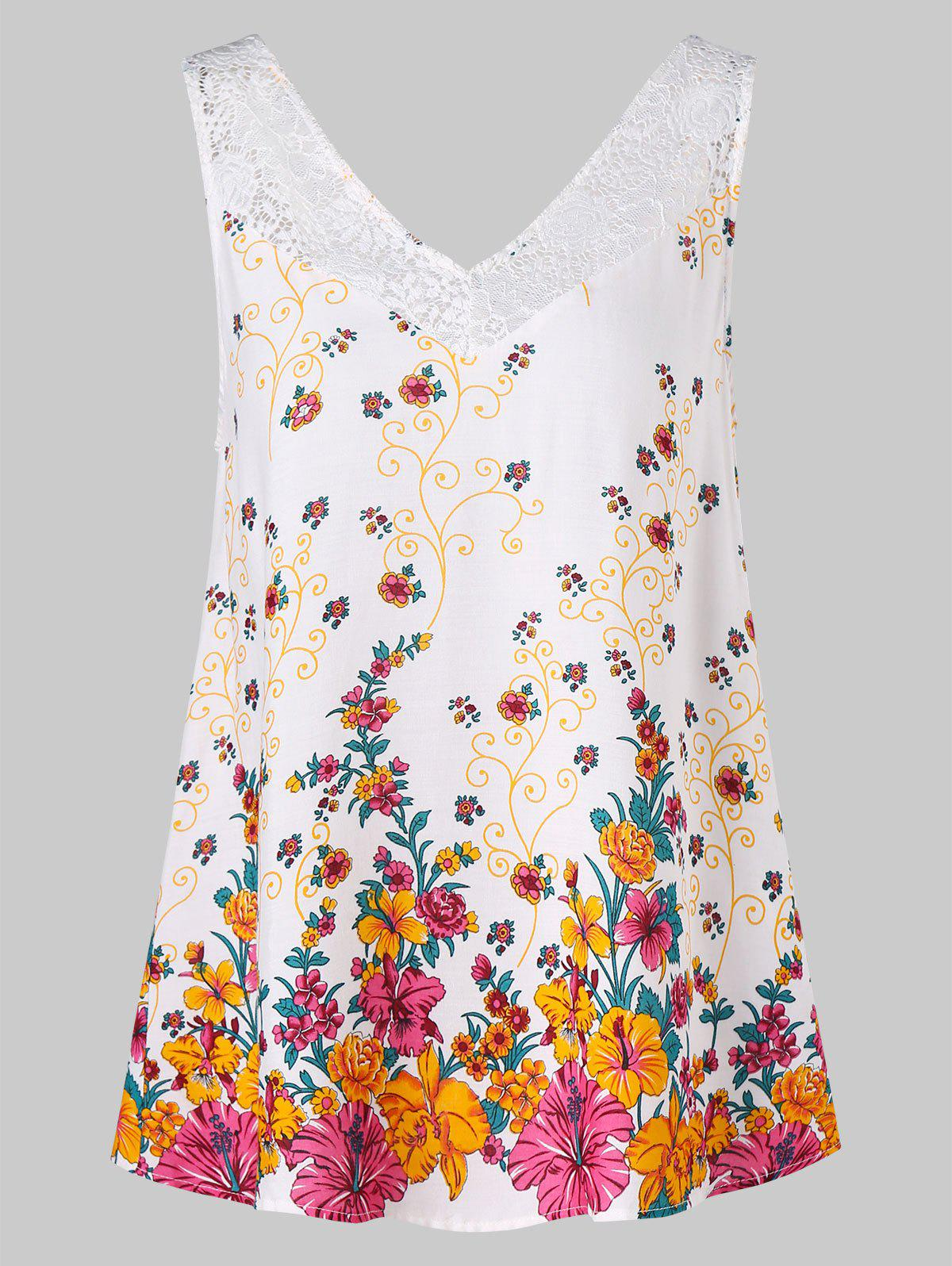 Buy Lace Insert Floral Tank Top