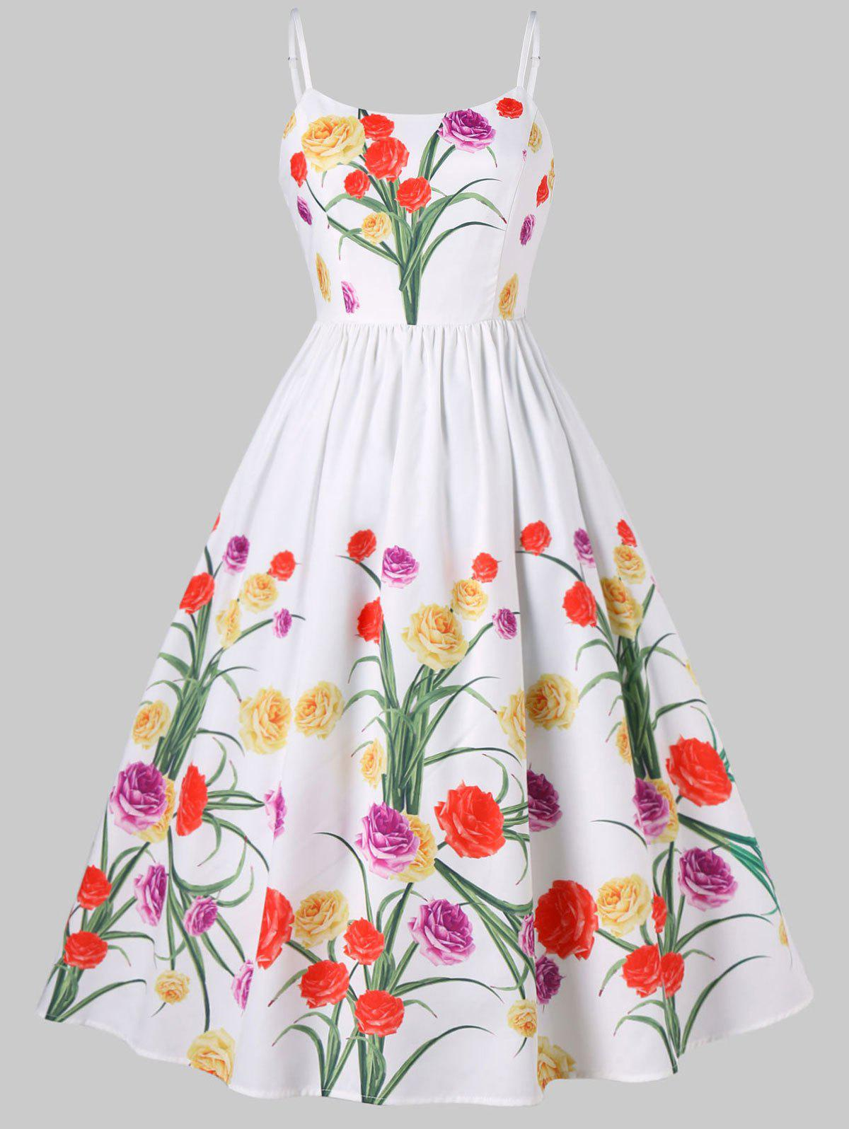 Sale Spaghetti Strap Vintage Floral Dress