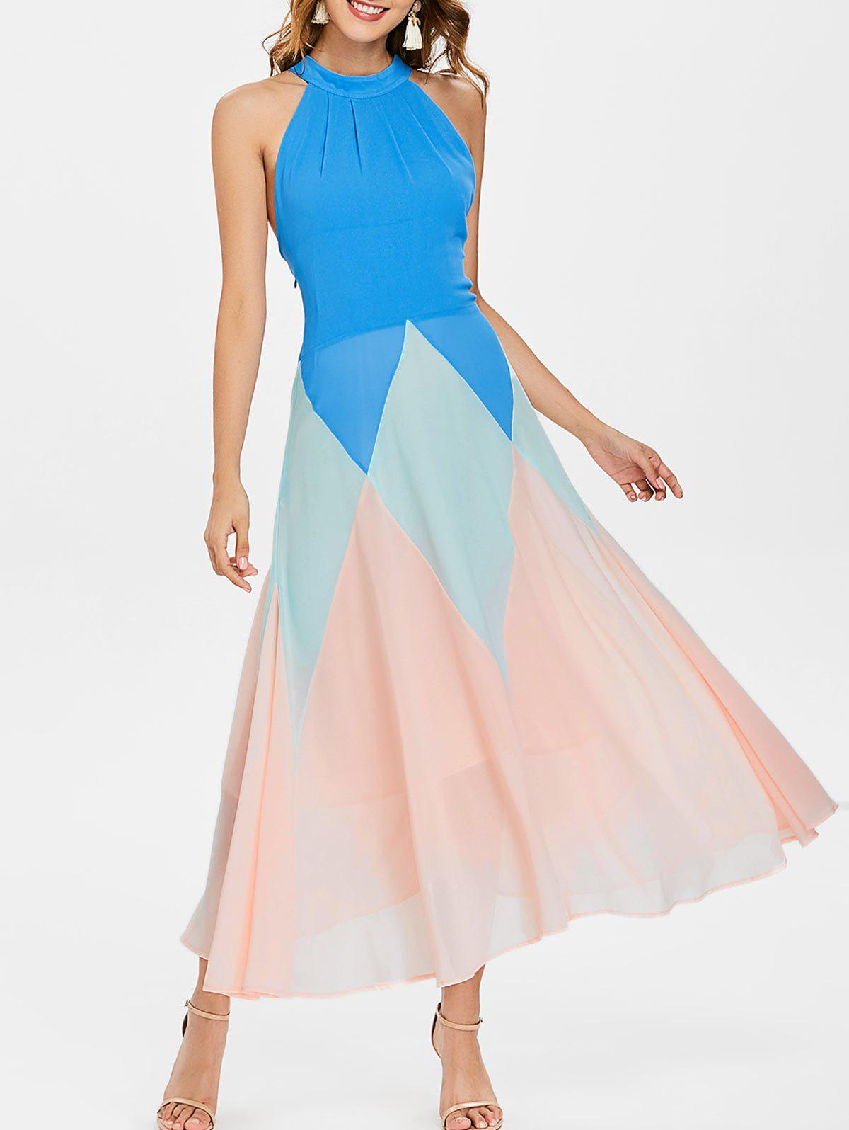 Sale Bib Neck Color Block Chiffon Maxi Dress