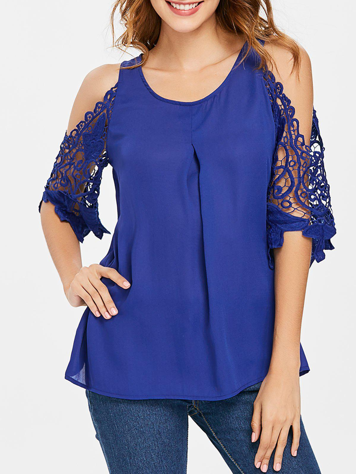 New Lace Panel Cold Shoulder Blouse