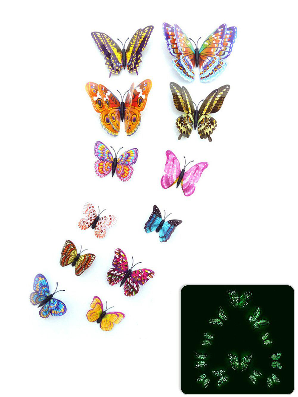 12Pcs/Set Glow in the Dark 3D Butterfly PVC Wall Sticker