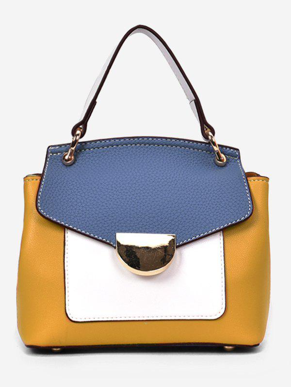 Unique Minimalism Color Block PU Leather Hand Bag