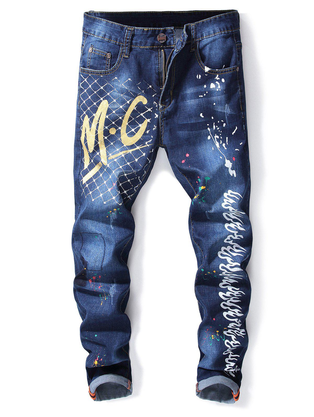 Trendy Letter and Fire Paint Faded Wash Jeans