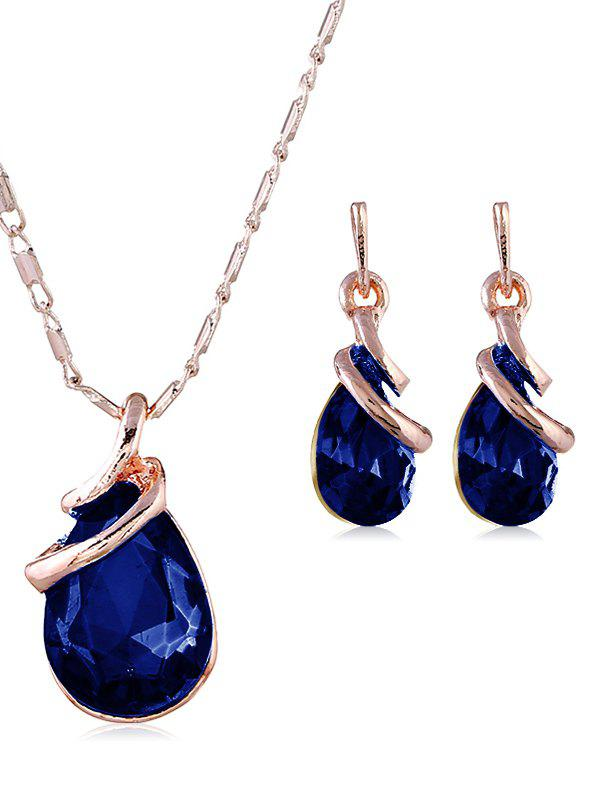 Trendy Retro Faux Gem Inlaid Pendant Necklace and Earrings