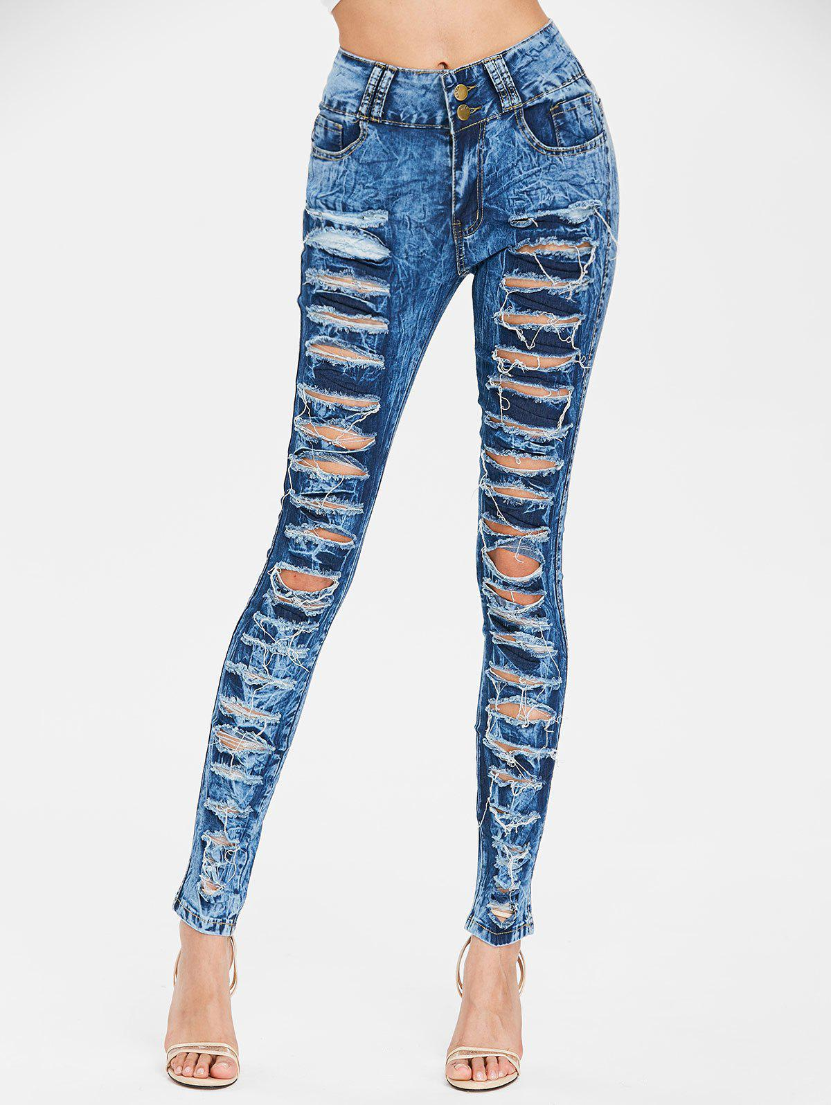 Shop Frayed Skinny Ripped Jeans