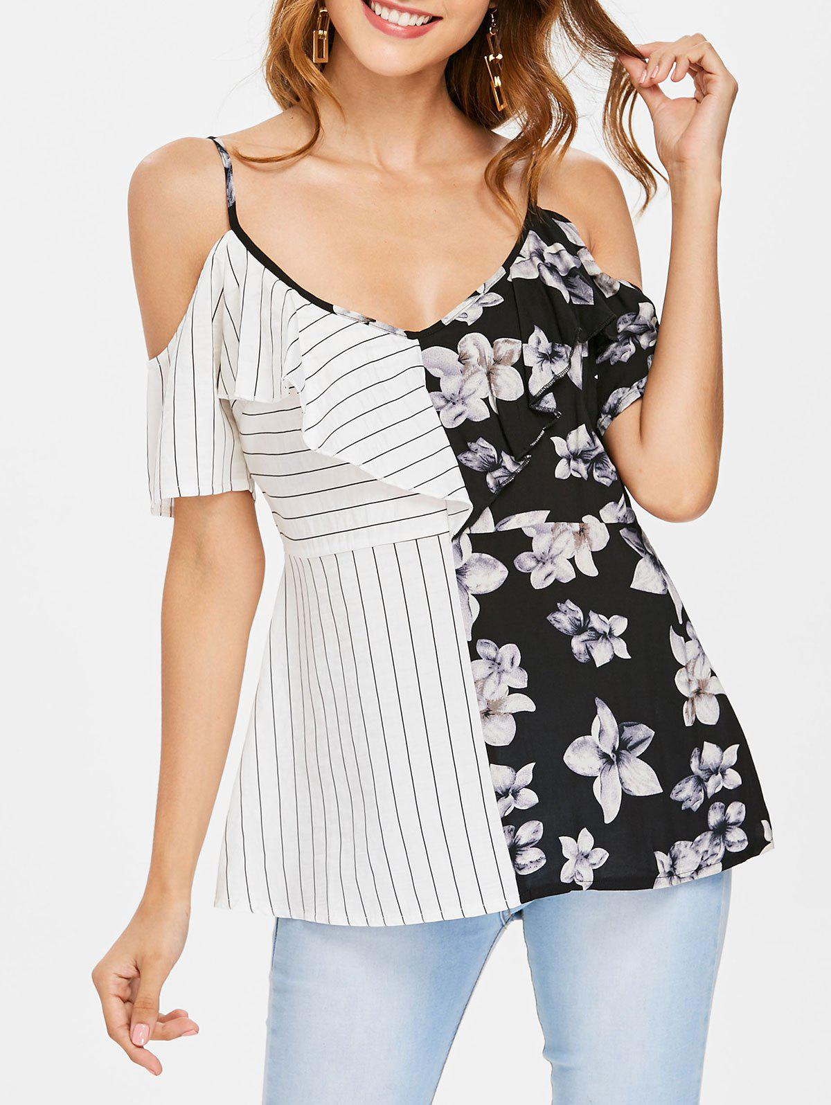 Chic Ruffle Insert Striped and Floral Printed Blouse