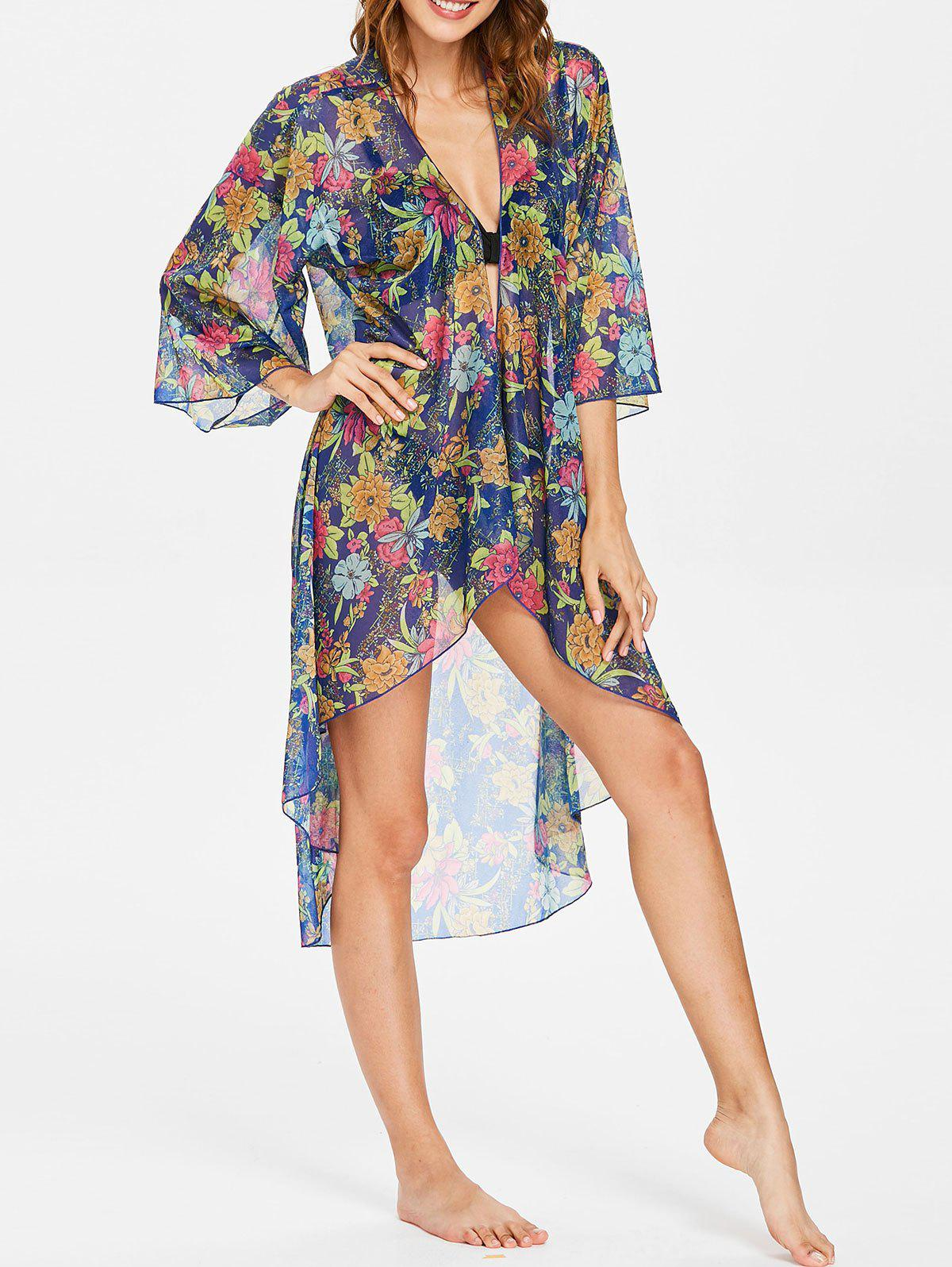 Online Floral High Low Collarless Cover Up