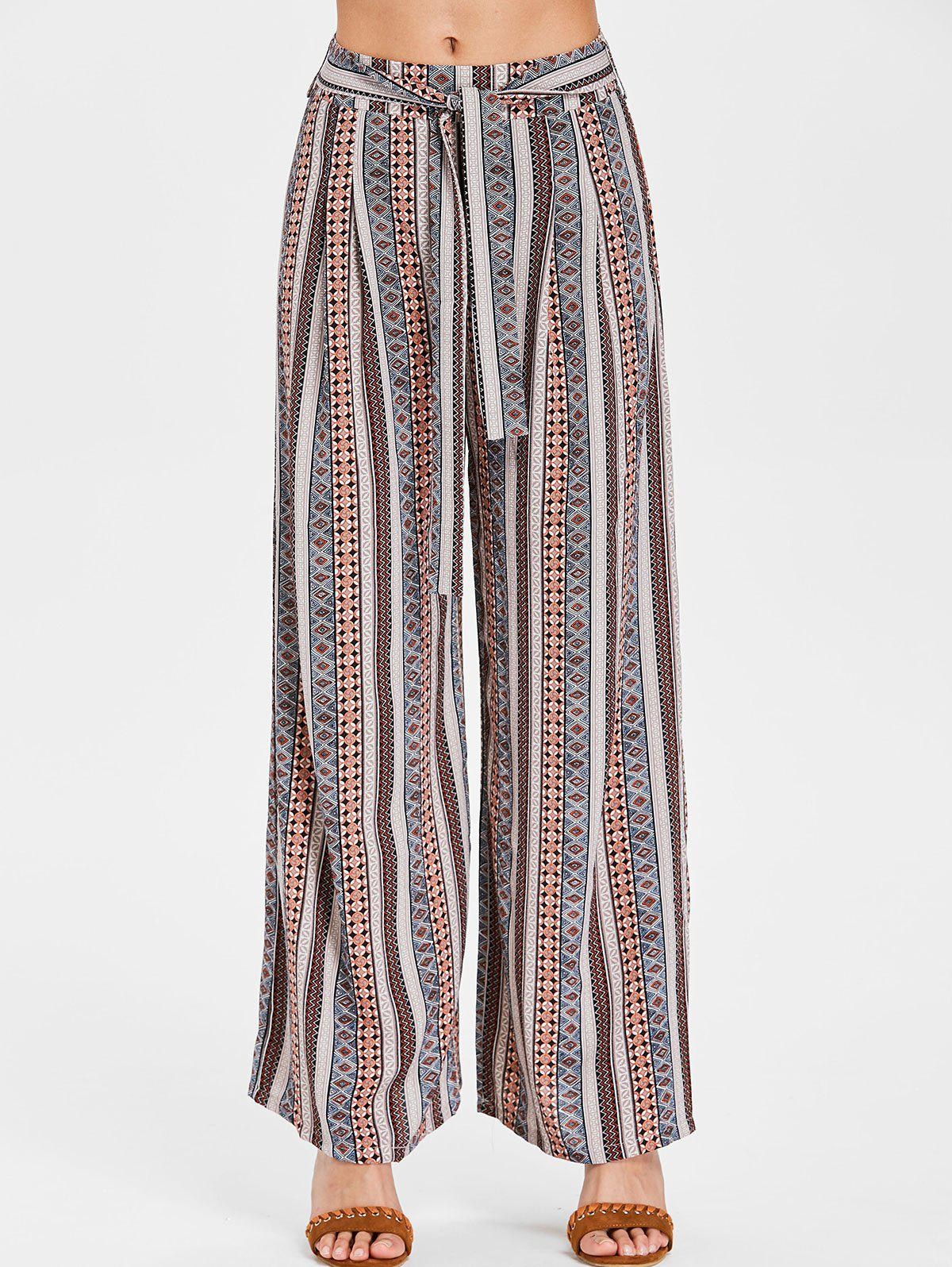 Online Wide Leg Bohemian Pants with Belt