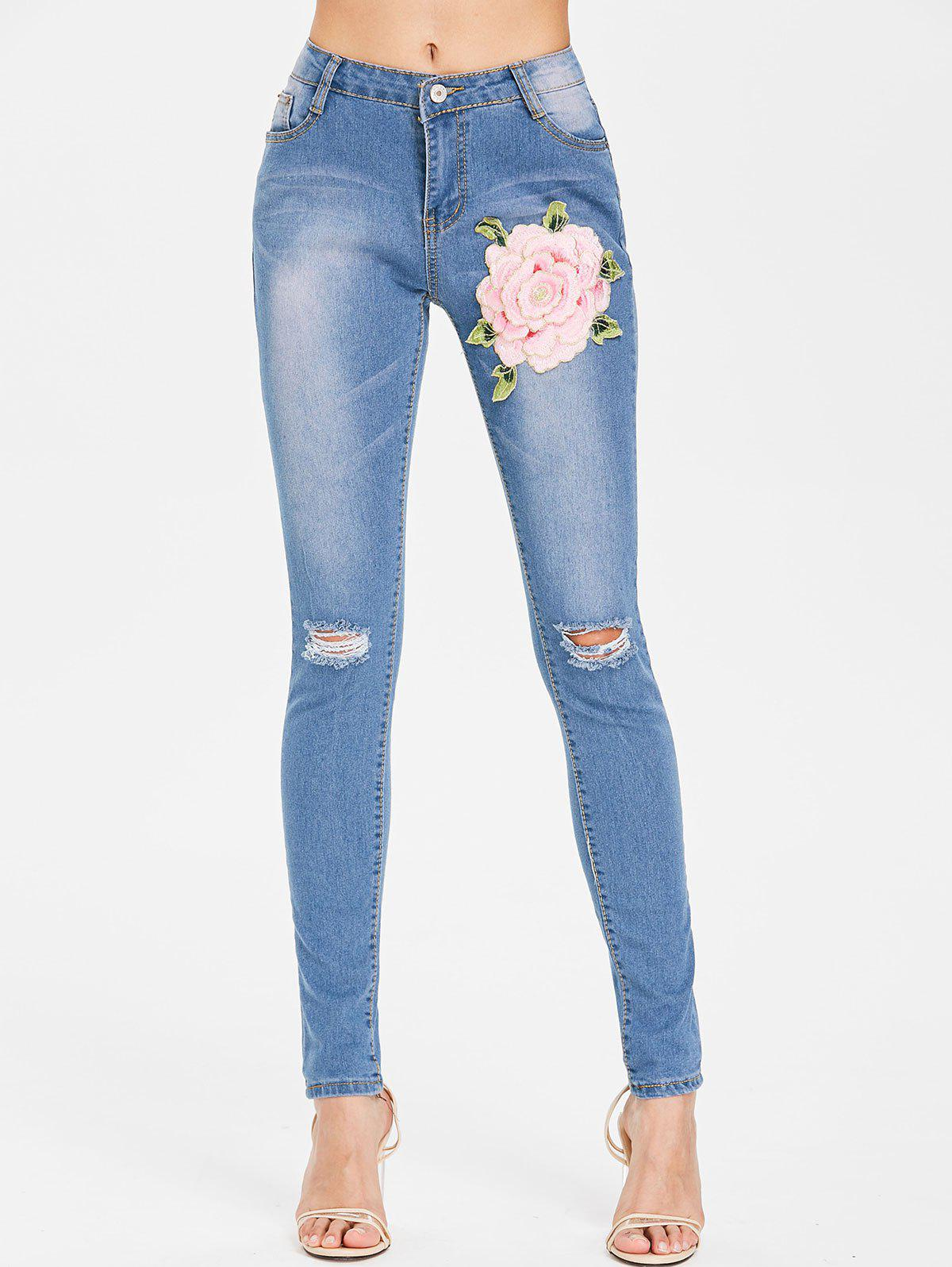 Trendy Floral Embroidery Ripped Jeans