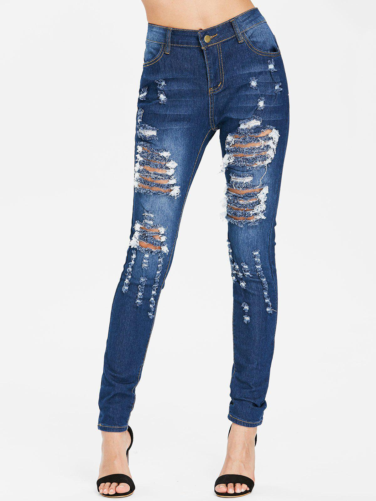 Affordable Skinny High Waisted Distressed Jeans