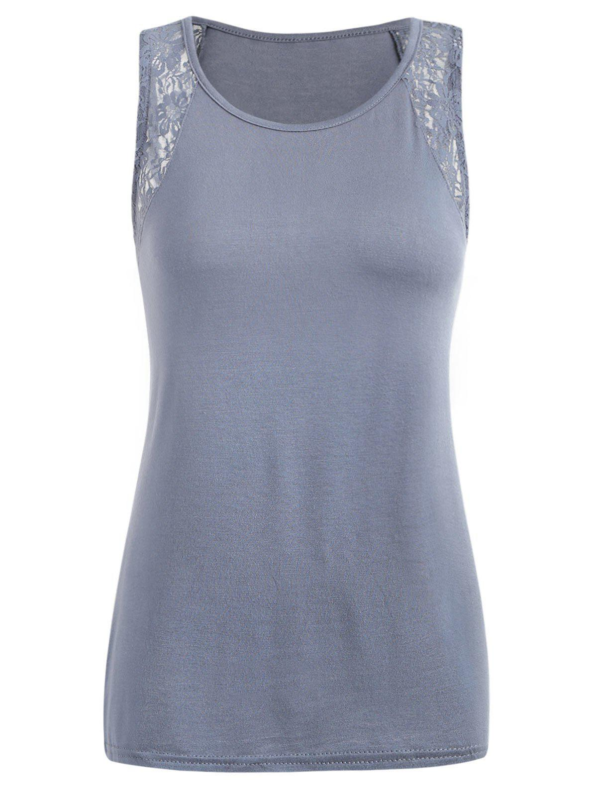 Affordable Lace Insert Round Neck Tank Top