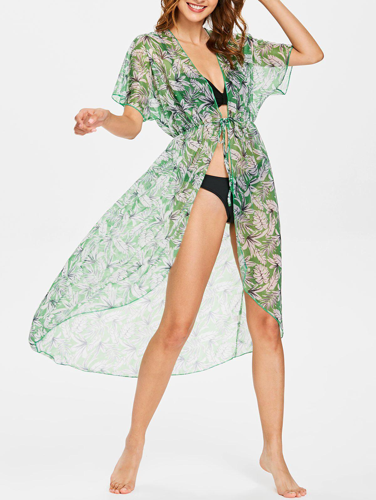Fancy Leaf Batwing Sleeve Kimono Cover Up