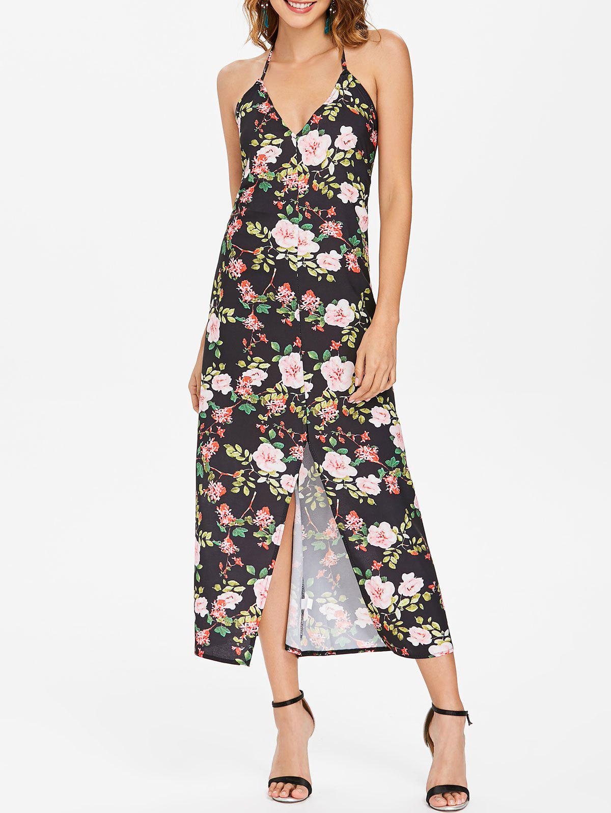 Outfits Backless Floral Print Maxi Dress