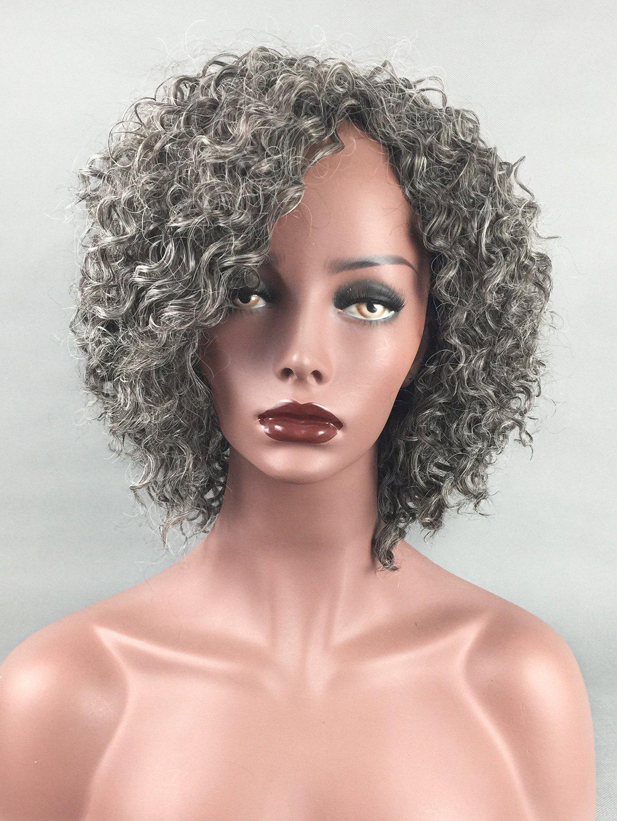 Discount Short Side Bang Colormix Kinky Curly Synthetic Wig