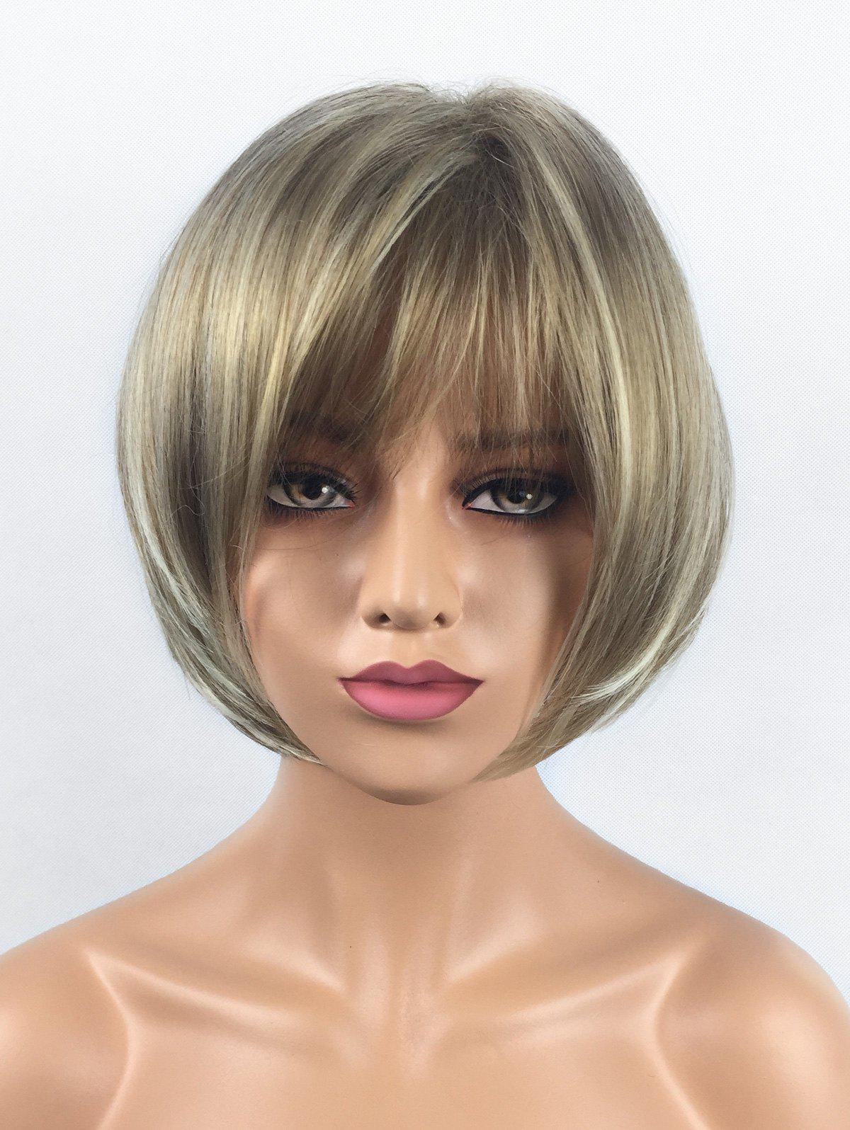 Outfits Short Side Bang Colormix Straight Bob Synthetic Wig
