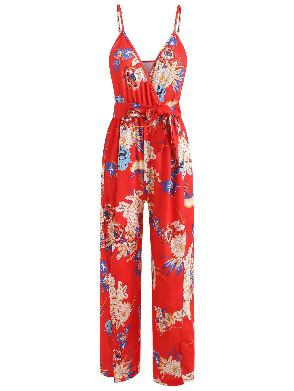 Unique Floral Slit Wrap Wide Leg Jumpsuit