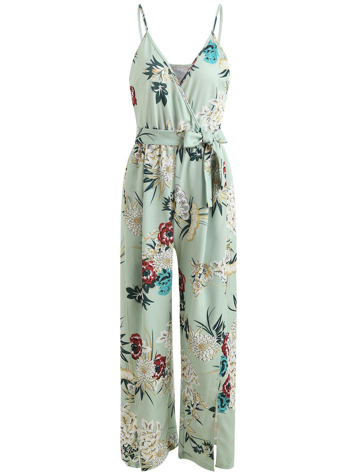 Fashion Floral Slit Wrap Wide Leg Jumpsuit