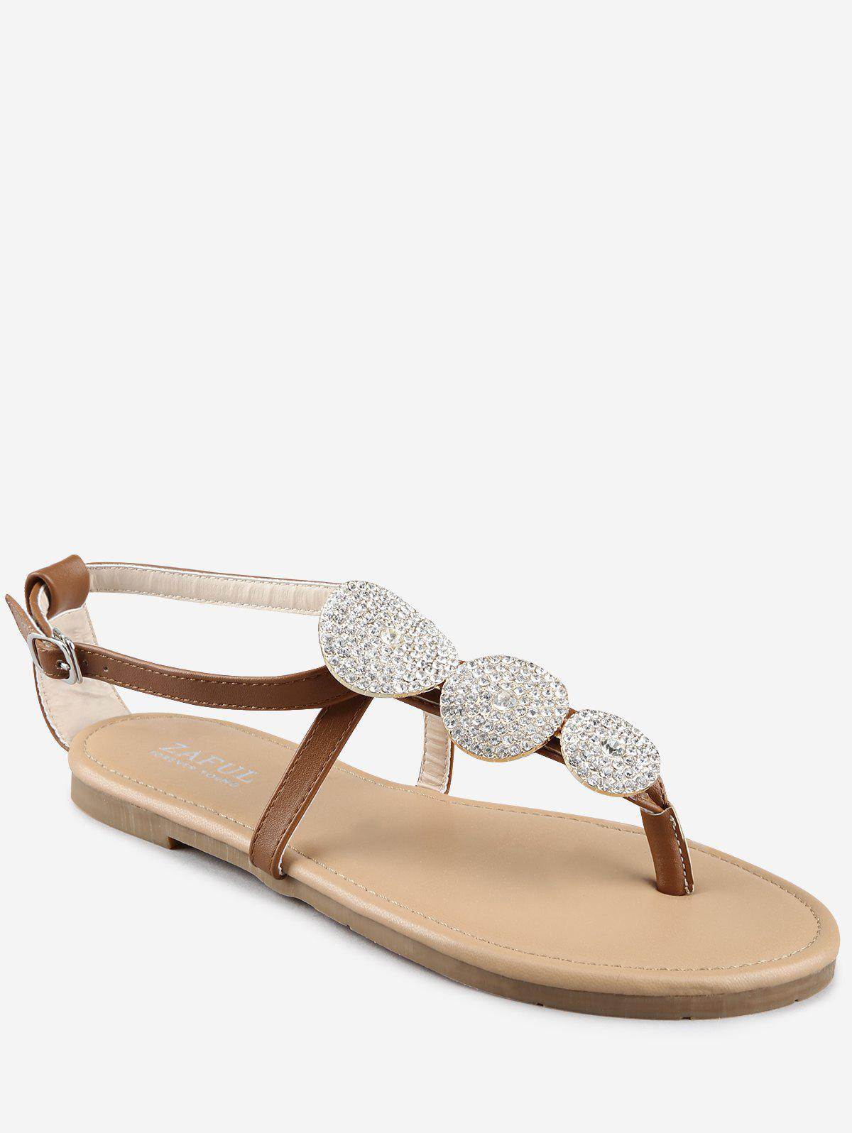 Outfits Buckle Strap Rhinestone Flat Heel Thong Sandals