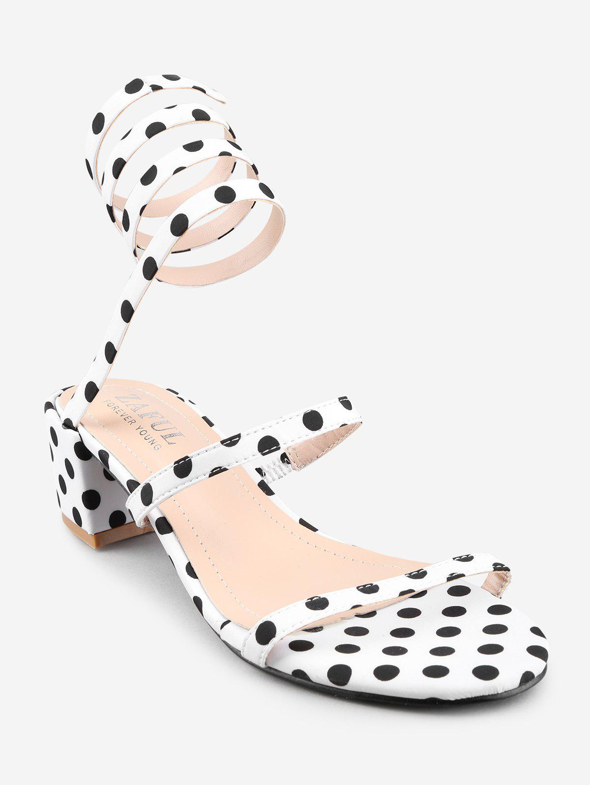 Latest Polka Dot Ankle Strap Block Heel Sandals