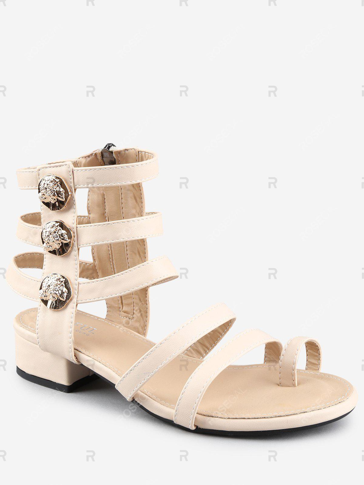 Chic Low Heel Gladiator Strappy Thong Sandals