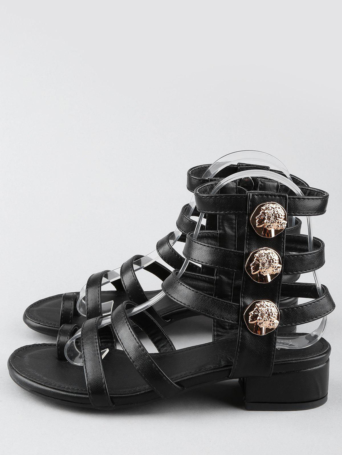 Discount Low Heel Gladiator Strappy Thong Sandals
