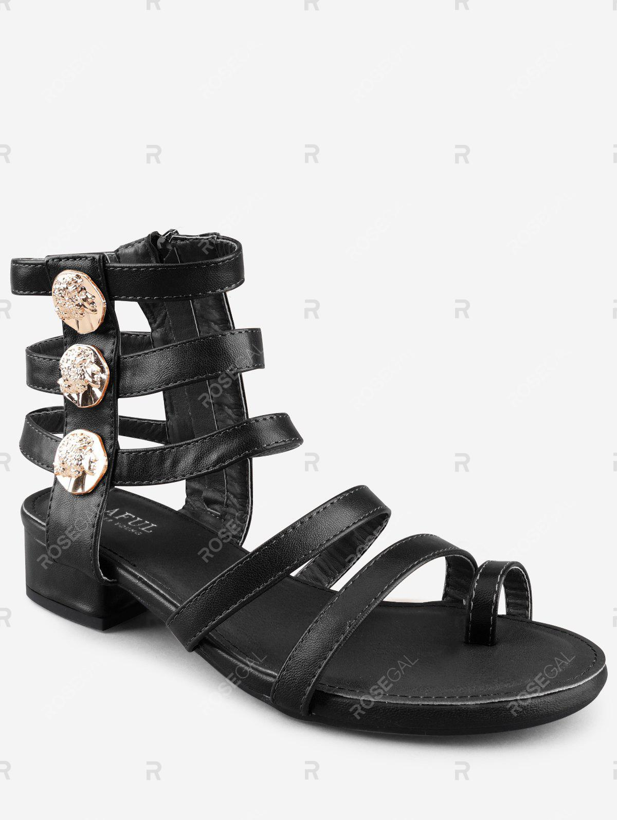 Outfits Low Heel Gladiator Strappy Thong Sandals