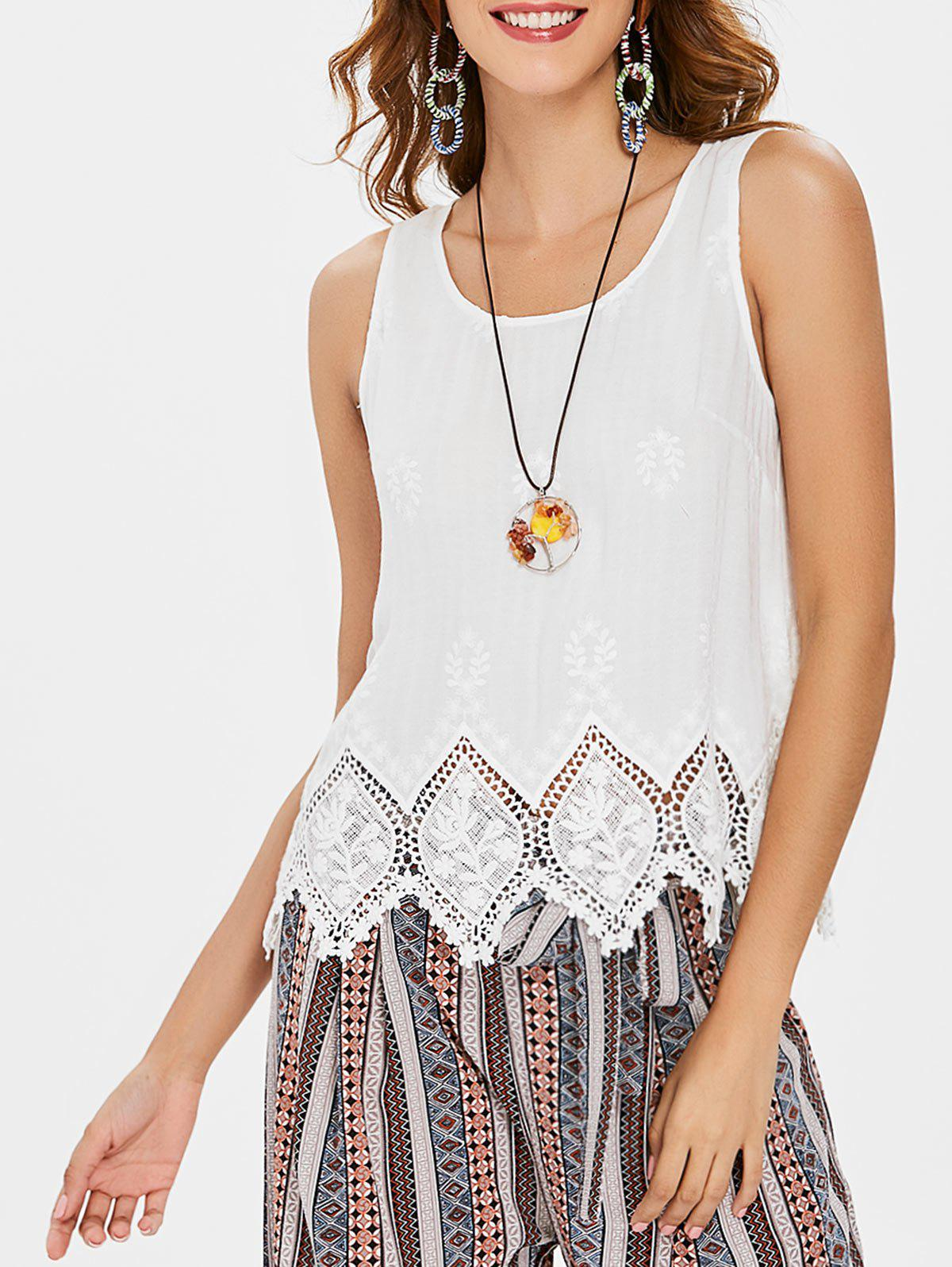 Fashion Scalloped Hem Lace Panel Tank Top