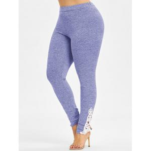 Crochet Lace Bottom Plus Size Leggings -