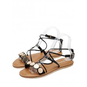 Coins Decor Cross Strap Chaussures plates -