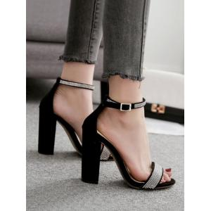 Ankle Strap Faux Crystal Chunky Heel Sandals -