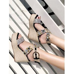 Cross Buckle Strap Wedge Heel Sandals -