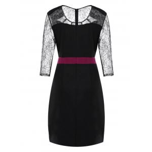 Plus Size Lace Panel Work Dress -