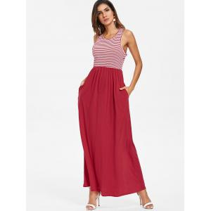 Striped Panel Sleeveless Floor Length Dress -