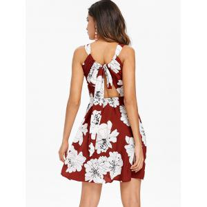 Floral Back Cut Out A Line Dress -