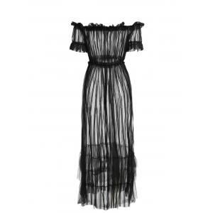 See Through Mesh Off Shoulder Cover Up Dress -