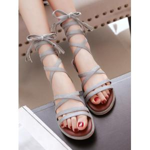 Plus Size Multi Straps Chic Ankle Strap Sandals - GRAY CLOUD
