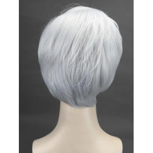 Short Oblique Bang Straight Cosplay Synthetic Wig -
