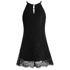 Crochet Applique Sleeveless Lace Tunic Blouse -