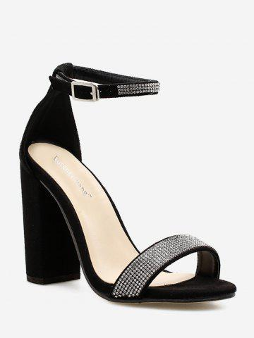 New Ankle Strap Faux Crystal Chunky Heel Sandals