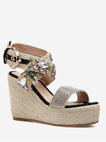 Hot Cross Buckle Strap Wedge Heel Sandals