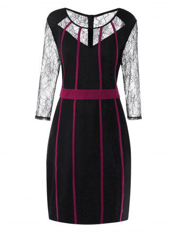 Outfit Plus Size Lace Panel Work Dress